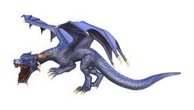 3D Rendering Fantasy Dragon on White. 3D rendering of a blue fantasy dragon isolated on white background stock illustration