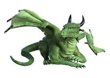 3D Rendering Fantasy Dragon on White. 3D rendering of a green fantasy dragon isolated on white background stock illustration