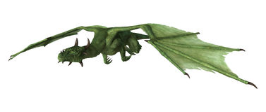 3D Rendering Fantasy Dragon on White Royalty Free Stock Photography