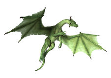3D Rendering Fantasy Dragon on White Stock Photography