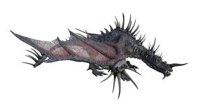 3D Rendering Fantasy Dragon on White. 3D rendering of a spiky fantasy dragon isolated on white background royalty free illustration