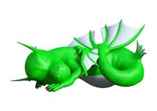 3D Rendering Fantasy Hatchling Sea Dragon on White. 3D rendering of a fantasy hatchling sea dragon isolated on white background Stock Photos
