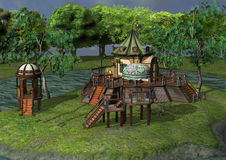 3D Rendering Fantasy Home. 3D rendering of a beautiful fantasy home on green lawn and blue river background Royalty Free Stock Photo