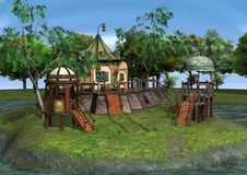 3D Rendering Fantasy Home. 3D rendering of a beautiful fantasy home on green lawn and blue river background Stock Photography