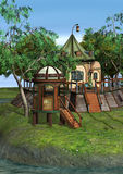 3D Rendering Fantasy Home. 3D rendering of a beautiful fantasy home on green lawn and blue river background Stock Photo