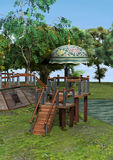 3D Rendering Fantasy Home. 3D rendering of a fantasy lookout on a green lawn background Royalty Free Stock Photos
