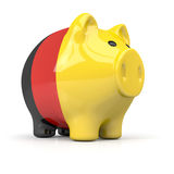 Fat piggy bank in german colors Royalty Free Stock Photos