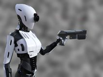 3D rendering of a female android robot with gun. 3D rendering of a female android robot with red laser beam sight holding a gun against gray background. She is Royalty Free Stock Photos