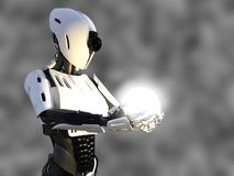 3D rendering of a female android robot holding energy sphere. 3D rendering of a female android robot holding a glowing sphere of energy or light in her hand Royalty Free Stock Photo