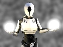 3D rendering of a female android robot holding energy spheres. 3D rendering of a female android robot holding two glowing spheres of energy or light in her Royalty Free Stock Image