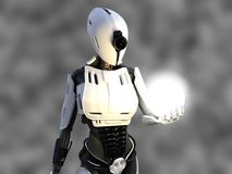 3D rendering of a female android robot holding energy sphere. 3D rendering of a female android robot holding a glowing sphere of energy or light in her hand Royalty Free Stock Photography