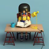 3d rendering of female cartoon character with book. 3d rendering of little girl in glasses reading book. Cute working space. Cartoon stylized Stock Photos