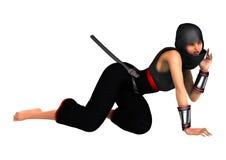 3D Rendering Female Ninja on White. 3D rendering of a female ninja  on white background Stock Image