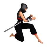 3D Rendering Female Ninja on White Stock Images