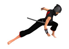 3D Rendering Female Ninja on White Royalty Free Stock Photo