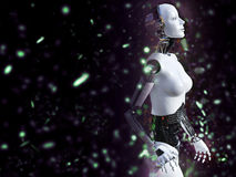 3D rendering of a female robot with bokeh light effect. Stock Photos