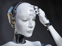 3D rendering of female robot crying nr 1. Royalty Free Stock Images