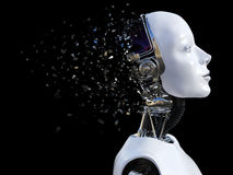 3D rendering of female robot head that shatters. Stock Images