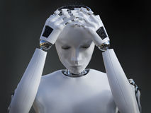 3D rendering of female robot looking sad. Stock Photo