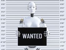 3D rendering of female robot in a mugshot. 3D rendering of a female robot holding a Wanted sign while getting her mug shot. Concept of cyber crime and hackers