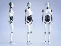 3D rendering of female robot standing, three different angles. Female robot standing, a view of it from three different angles, 3D rendering royalty free illustration