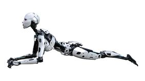 3D Rendering Female Robot on White Royalty Free Stock Photography