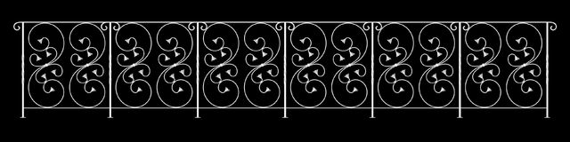 3d rendering of a  fence railing design on a black background. 3d rendering of a fence railing design on a black background Stock Images