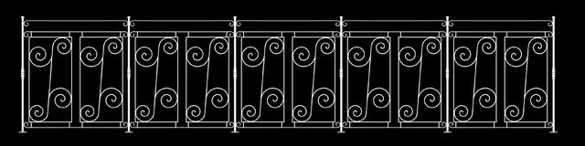 3d rendering of a  fence railing design on a black background. 3d rendering of a fence railing design on a black background Royalty Free Stock Photography
