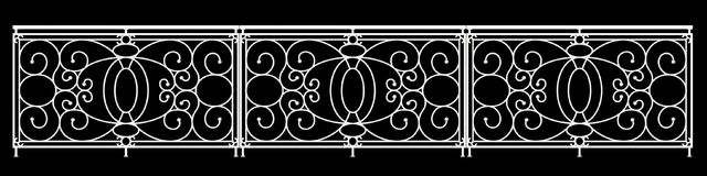 3d rendering of a  fence railing design on a black background. 3d rendering of a fence railing design on a black background Royalty Free Stock Photos
