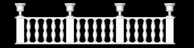 3d rendering of a  fence railing design on a black background. 3d rendering of a fence railing design on a black background Stock Photography