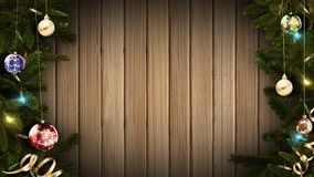 3D rendering of a bright festive Christmas frame on an old rustic wooden table to create an amazing atmosphere of magic. 3D rendering of a festive Christmas vector illustration