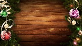 3D rendering of a bright festive Christmas frame on an old rustic wooden table to create an amazing atmosphere of magic. 3D rendering of a festive Christmas royalty free illustration