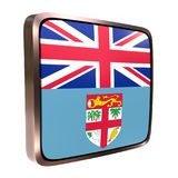 Fidji flag icon. 3d rendering of a Fidji flag icon with a bright frame. Isolated on white background Royalty Free Stock Photos