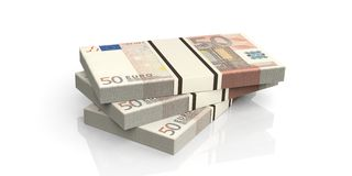 3d rendering fifty euro banknotes stacks. On white background Royalty Free Stock Image