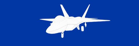 3d rendering of a fight jet on a blue background blueprint. Shape Stock Photo