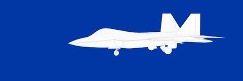 3d rendering of a fight jet on a blue background blueprint. Shape Stock Photos