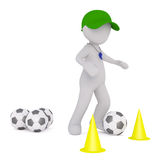 3D rendering of figure in green cap with whistle. Maneuvering soccer balls between yellow cones Royalty Free Stock Photography