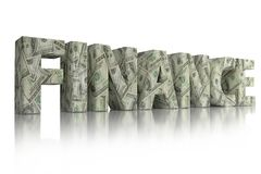 3D CASH word. 3D rendering of FINANCE word wrapped around with 100 USD banknotes over white background Stock Images