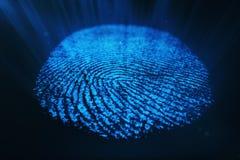3D rendering Fingerprint Scanning Identification System. Fingerprint scan provides security access. 3D rendering Fingerprint Scanning Identification System Stock Photo