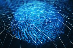 3D rendering Fingerprint Scanning Identification System. Fingerprint scan provides security access. 3D rendering Fingerprint Scanning Identification System Royalty Free Stock Photography