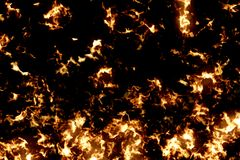 3D rendering, fire flames pattern burn on black background, dangerous flame. Concept Royalty Free Stock Photos