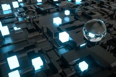3d rendering, Fireball, Glass balls and luminescent squares stock illustration
