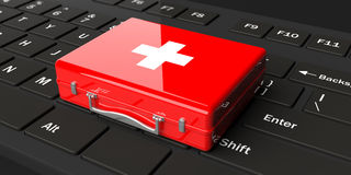 3d rendering first aid kit on a black keyboard. 3d rendering red first aid kit on a black keyboard Royalty Free Stock Photo