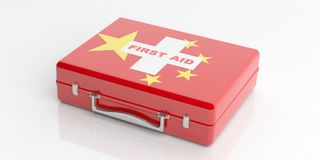 3d rendering first aid kit China flag on white background Royalty Free Stock Photo