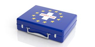 3d rendering first aid kit with EU flag on white background Stock Image