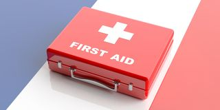 3d rendering first aid kit on France flag background Stock Photos