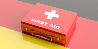 3d rendering first aid kit on Germany flag background Royalty Free Stock Image