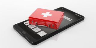 3d rendering first aid kit on a smart phone. 3d rendering red first aid kit on a smart phone Royalty Free Stock Photo