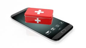 3D rendering of first aid kit on smartphone's screen. On white background Royalty Free Stock Photography