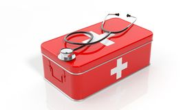 3D rendering of first aid kit and stethoscope. On white background Stock Photo
